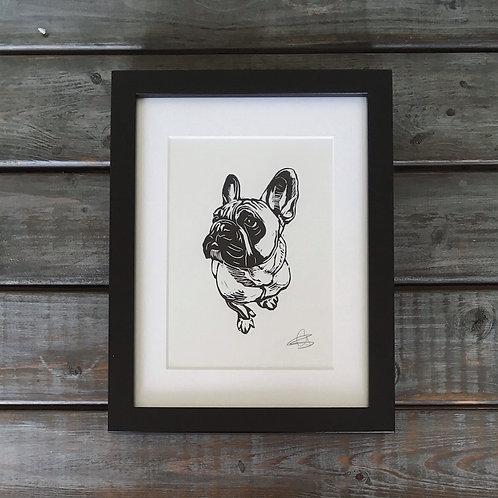 'Hugo the French Bulldog' Lino Print