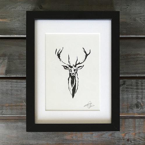 'Stag' Lino Print
