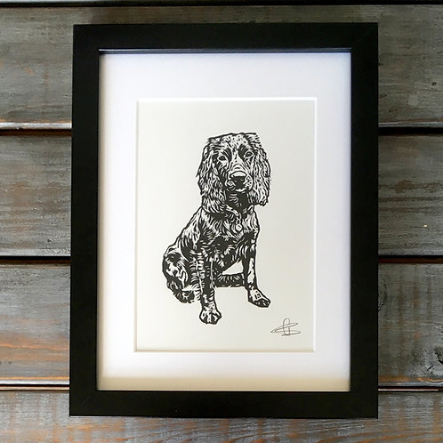 'Percy the Working Cocker Spaniel' Lino Print