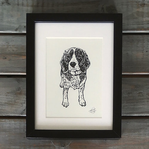 'Daisy the Beagle' Lino Print