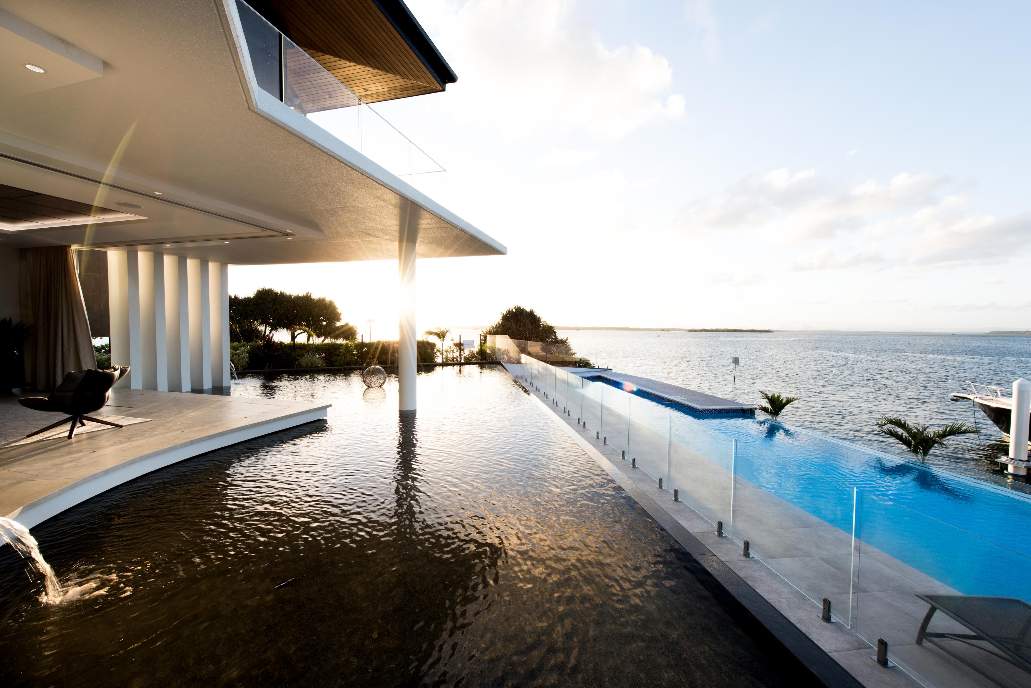 view across lagoon