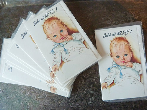 Carte de souhait «Bébé dit Merci!» - Années 80