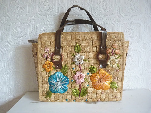 Straw embroidered tote bag - vinyl handles
