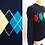 Thumbnail: Chandail / pull noir, laine vierge Shetland - motifs losanges