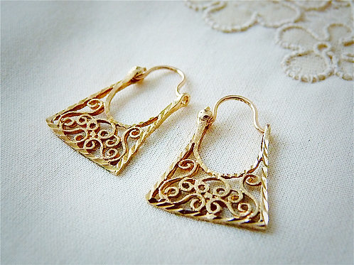 Creole-style filigree earrings, 10 karat gold