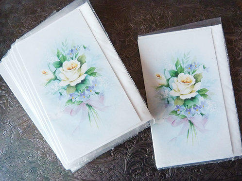 Greeting card without message - White Roses & Dove - 80s