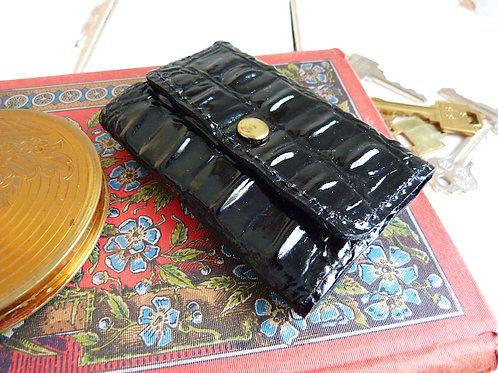 Porte-clefs en vinyl noir, motifs croco