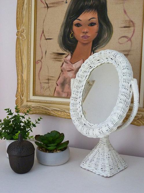 Miroir de table en rotin blanc