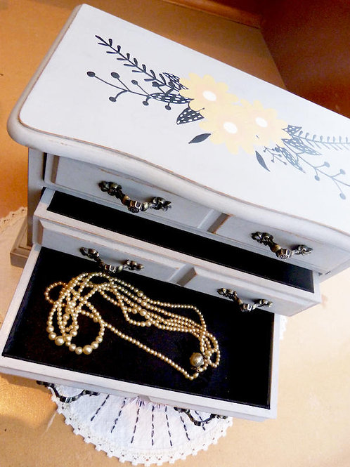 Revamped jewelry box - gray, boho spirit