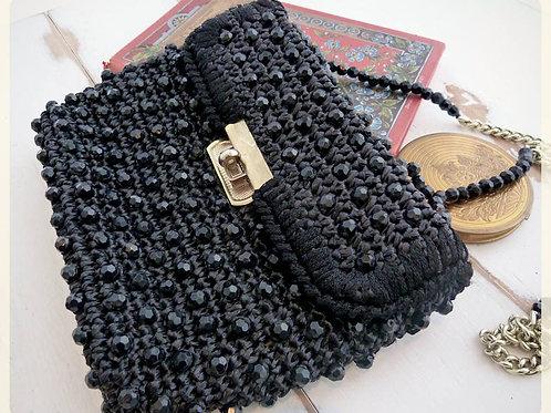Black shoulder bag, woven raffia and pearls, origin Japan