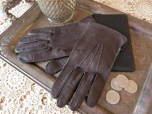 Gray brown leather gloves for men - Paris Glove - Size 10