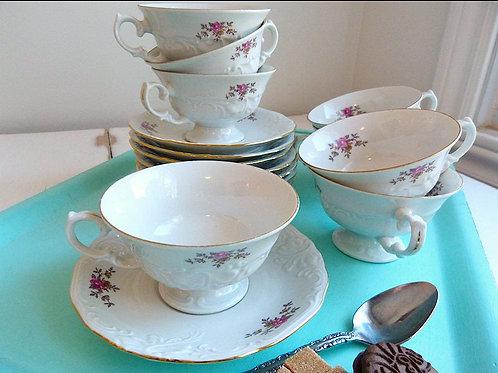 Ensemble de 2 tasses à thé sur pied en porcelaine fine, Walbrzych Rosebud