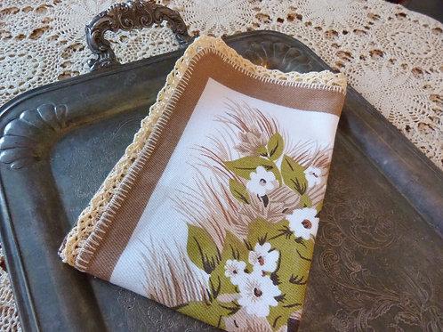 Linge à vaisselle en coton bordure crochet - Moulin - Années 70-80