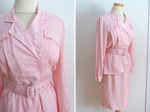 Pretty in pink pink long sleeve dress with white polka dots