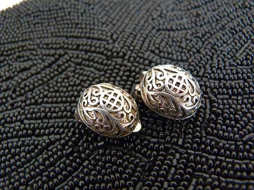 Celtic style oval clip earrings