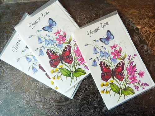 Carte de remerciement papillons «Thank you» - Années 70