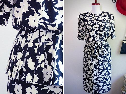 Light blue and white dress, ruffle at the waist - Gérard Pasquier