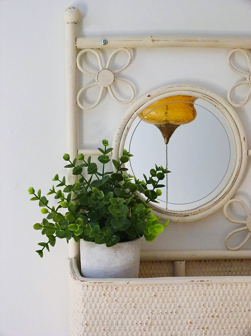 Rattan storage shelf with hooks and mirror