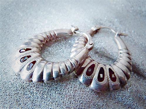 Boucles d'oreille créoles en argent massif et abalone