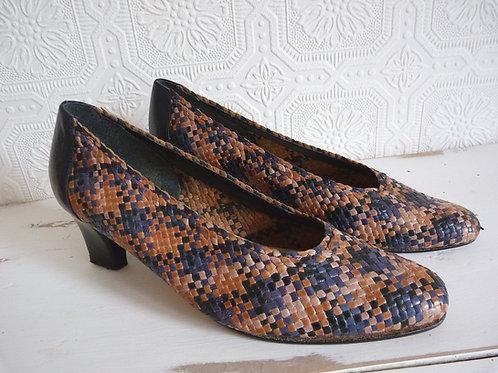 Chaussures à talon en cuir tressé brun & bleu - Pointure 8 - Pierre Chupin