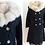 Thumbnail: Manteau de fourrure en Astrakan noir, col renard argenté