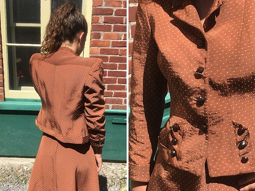 40s skirt and jacket suit with small polka dots