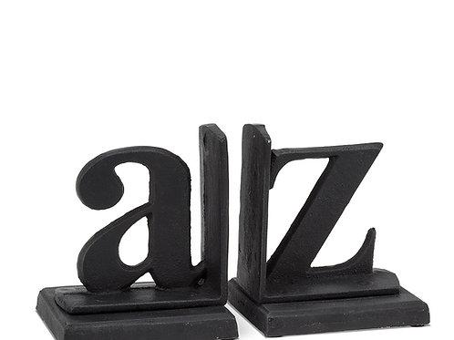 Serre-livre en fonte - A à Z noir