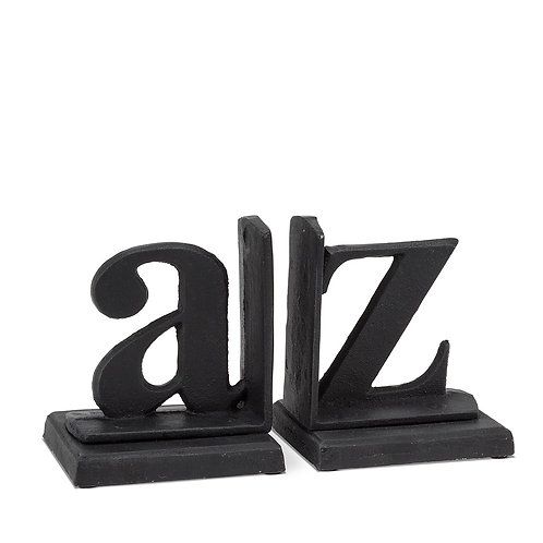 Cast iron bookend - A to Z black
