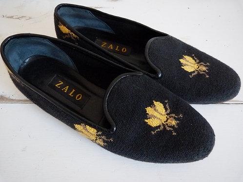 Chaussures d'intérieur noires à motif abeille - Pointure 8,5 Femme - ZALO