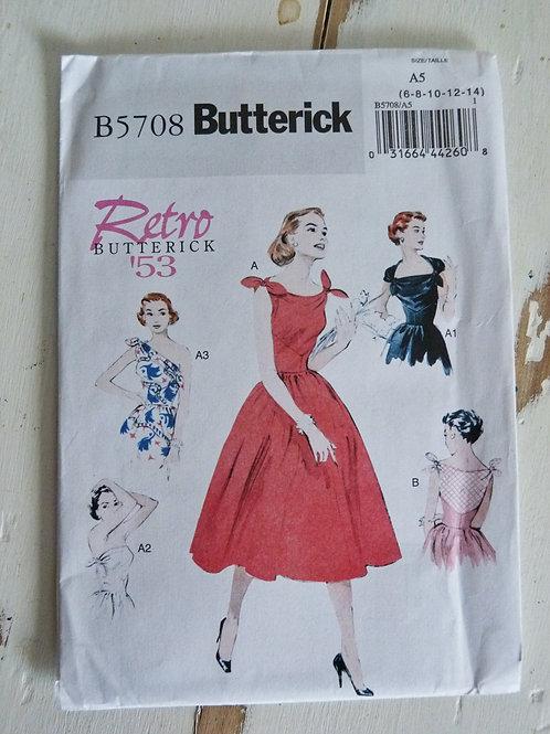 Bilingue  - Butterick B5708 - Robe style rétro 1953 - Taille 6-8-10-12-14