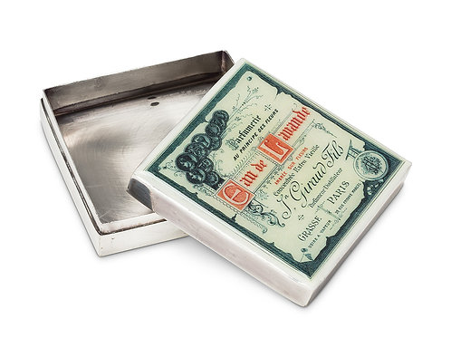 Grand boîtier carré style vintage - argent plaqué - Eau de Lavande