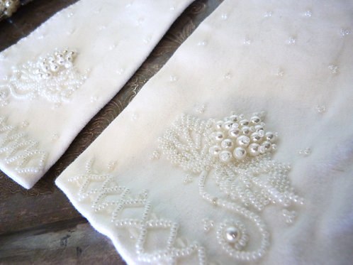Bridal embroidered beads long cotton gloves