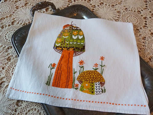 Patchwork embroidered linen dish towel - Mushrooms - 1960s
