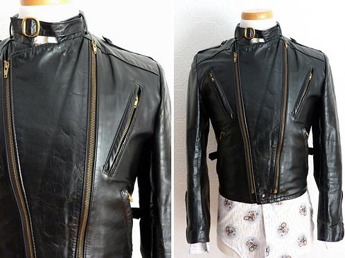 Blouson de moto en cuir avec doublure amovible - Années 70-80