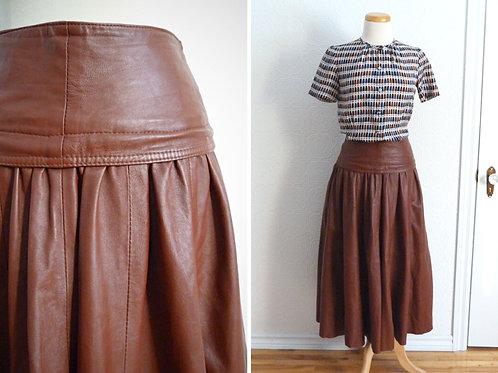 Long brown leather skirt - KOSAR