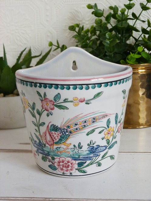 Small Portuguese ceramic wall planter, hand painted