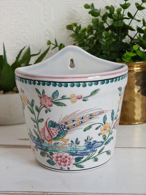 Petit support à plante mural en céramique portugaise, peint à la main
