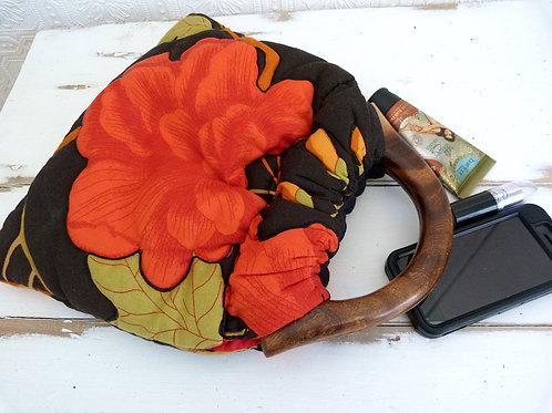 Petit sac fourre-tout en tissu et bois, motif floral