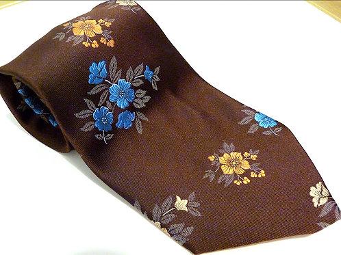 Cravate brocard brune, motifs floraux - Monsieur Pierre