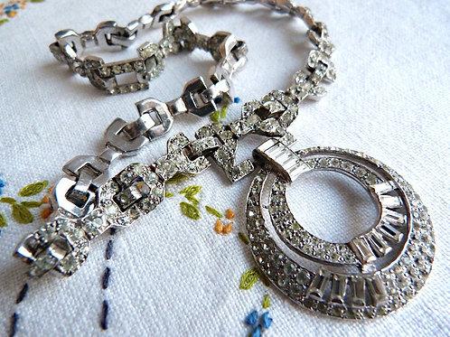 Art deco necklace, rhinestone and rhodium