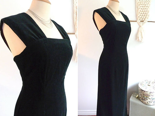 Black velvet bodycon maxi dress