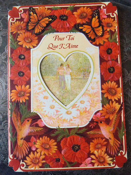 """Folding Valentine's Day card """"For You That I Love"""" - 1970s"""