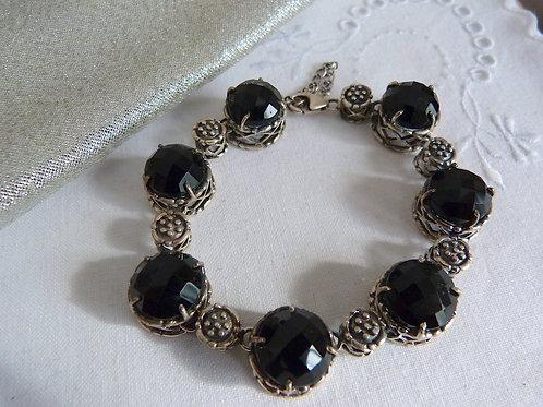 Bracelet argent massif et onyx