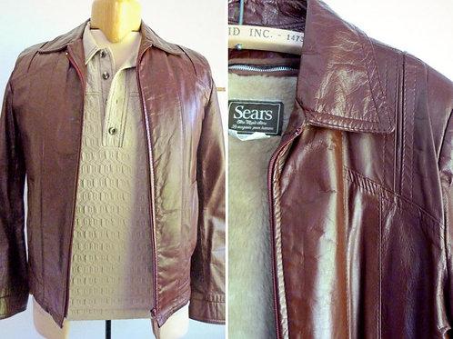 Men's genuine leather jacket, burgundy, removable lining