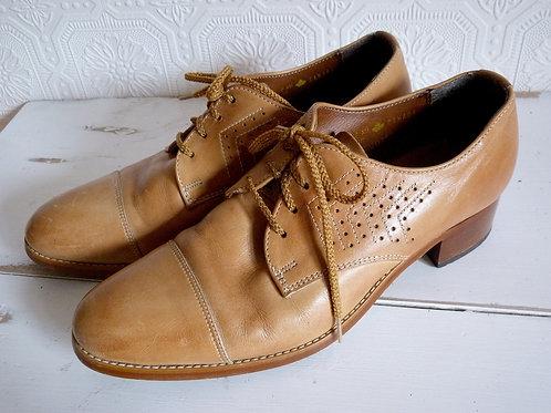 Chaussures Derby en cuir brun - Pointure 9 Femme - Trans-Canada, Années 50