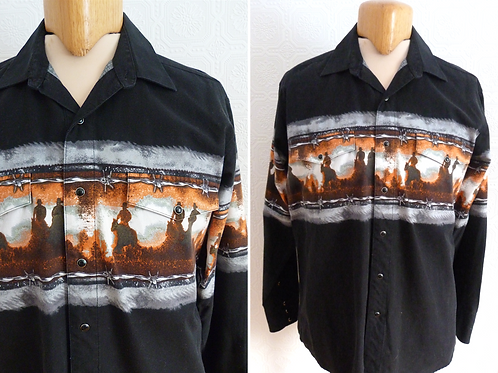 Black western shirt, cowboy patterns - PANHANDLE SLIM