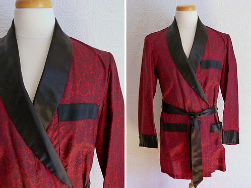 Short lounge smoking jacket robe - Majestic - 1950s
