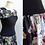Thumbnail: Robe noire à motif floral - col châle