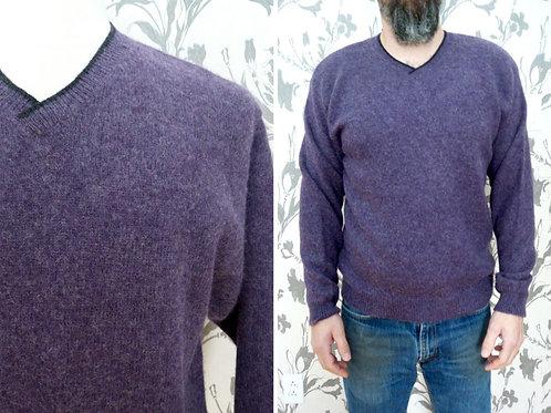 Chandail violet col V - 100% laine Shetland