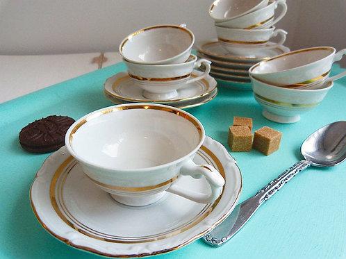 Ensemble de 4 tasses à espresso en porcelaine fine, Chodziez Dubarry Or